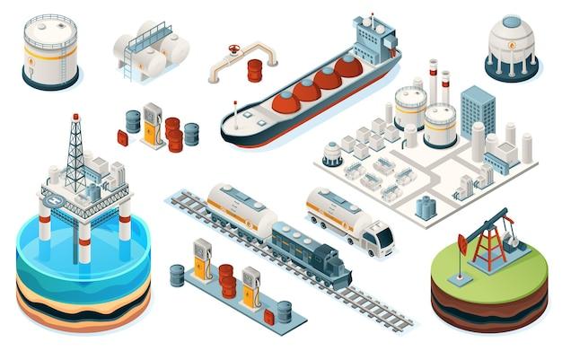 Verzameling van geïsoleerde olie-industrie apparatuur. isometrische brandstof-, benzine- en benzineproductie. installatie en pijp, zeeplatform en tanker, trein en vrachtwagen, pomp, benzinestation, tank. industriële fabriek