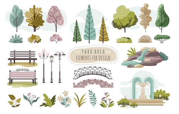Verzameling van geïsoleerde parkelementen, bomen en bloemen, illustratie