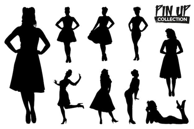 Verzameling van geïsoleerde pin-up silhouetten. grafische bronnen.