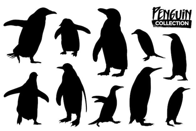 Verzameling van geïsoleerde pinguïnsilhouetten. grafische bronnen.
