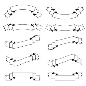 Verzameling van geïsoleerde platte witte lintbanners met zwarte streep.