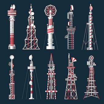 Verzameling van geïsoleerde radiotoren met antenne.