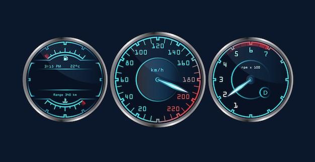 Verzameling van geïsoleerde realistische dashboard snelheidsmeters.