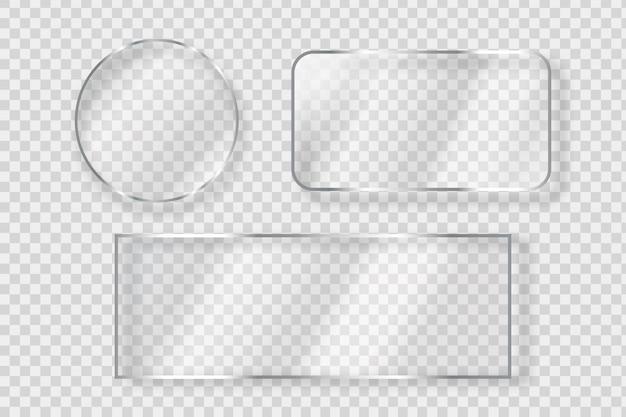 Verzameling van geïsoleerde realistische glazen bord voor decoratie en bekleding op de transparante achtergrond.
