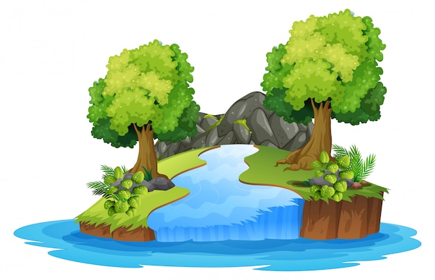 Verzameling van geïsoleerde rivierlandschap