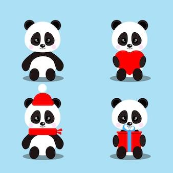 Verzameling van geïsoleerde schattige baby panda's beren in zittende pose met cadeau, hart, rode sjaal, muts.