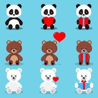 Verzameling van geïsoleerde schattige vakantieberen in zittende pose met geschenken en harten bruine beer, ijsbeer, panda.