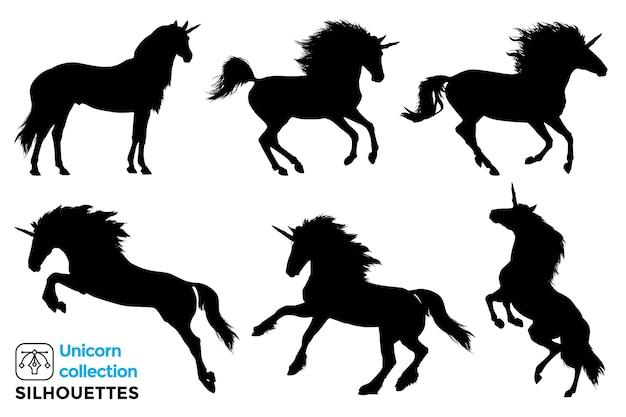 Verzameling van geïsoleerde silhouetten van eenhoorns in verschillende poses.