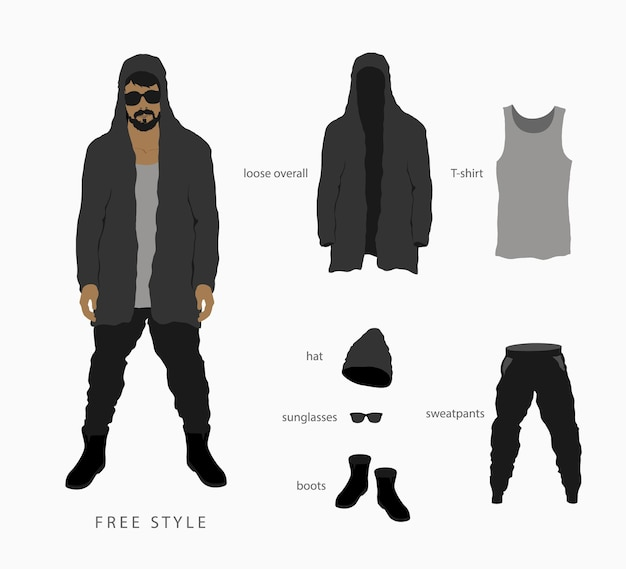 Verzameling van geïsoleerde silhouetten van kleding voor mannen en vrouwen.