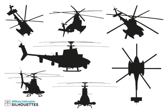 Verzameling van geïsoleerde silhouetten van militaire gevechts- en reddingshelikopters in verschillende weergaven.