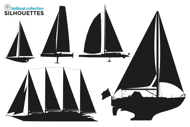 Verzameling van geïsoleerde silhouetten van zeilschepen