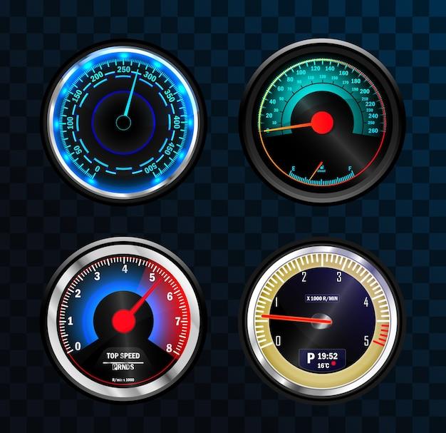 Verzameling van geïsoleerde snelheidsmeters voor dashboard