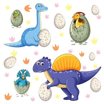 Verzameling van geïsoleerde verschillende dinosaurussen stripfiguur op witte achtergrond