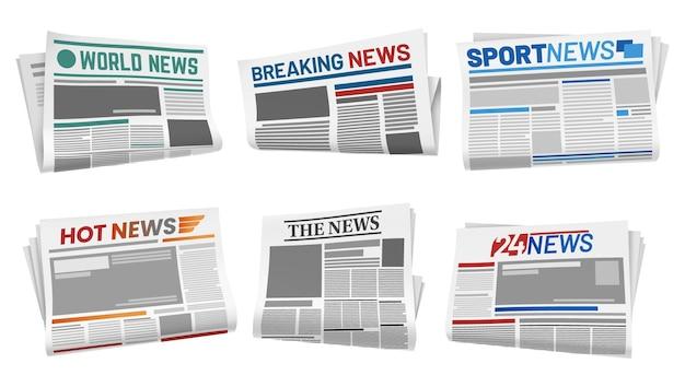 Verzameling van geïsoleerde voorpagina van de krant. tabloid-artikel met hot and world, 24 en sport, kop breken.