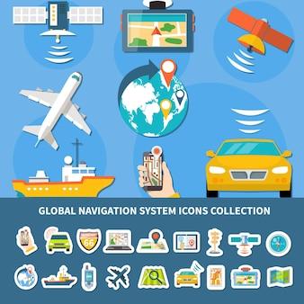 Verzameling van geïsoleerde wereldwijde navigatiesysteempictogrammen met samenstelling van platte afbeeldingen van uitgeruste voertuigen en apparaten vectorillustratie