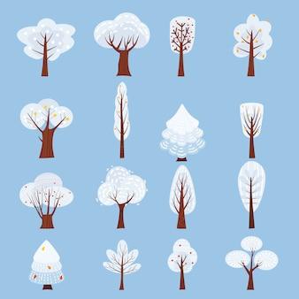 Verzameling van geïsoleerde winter boom versieren gestileerd, sneeuw, naakt.