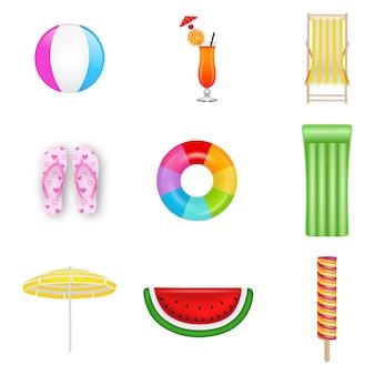 Verzameling van geïsoleerde zomer elementen. strandbal, cocktail, ligstoel, slippers, rubberen ring, opblaasbaar matras, parasol, watermeloenmatten en ijs