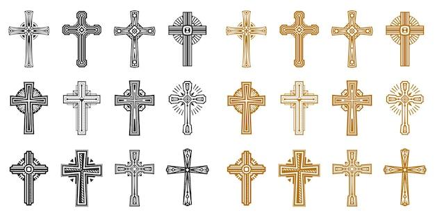 Verzameling van geïsoleerde zwarte en gele religie kruis Premium Vector