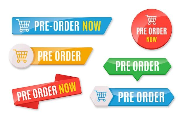 Verzameling van gekleurde pre-order badges