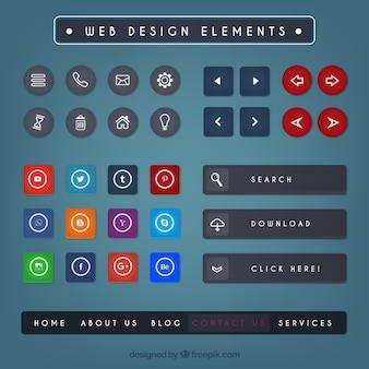 Verzameling van gekleurde web design elementen