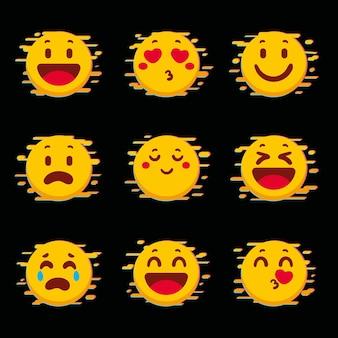 Verzameling van gele glitch emoji's