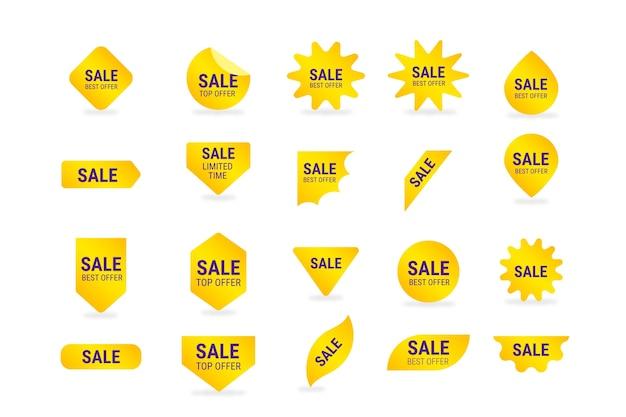 Verzameling van gele verkoop label