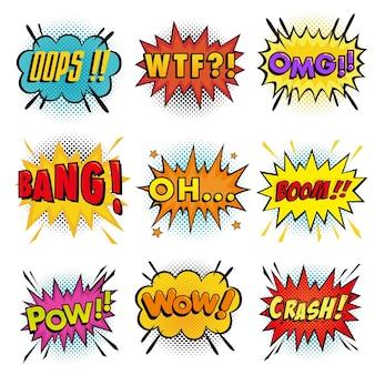 Verzameling van geluidseffecten die komische tekstballon in pop-artstijl en halftoonachtergrond verwoorden