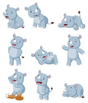 Verzameling van gelukkig neushoorn met verschillende poseren