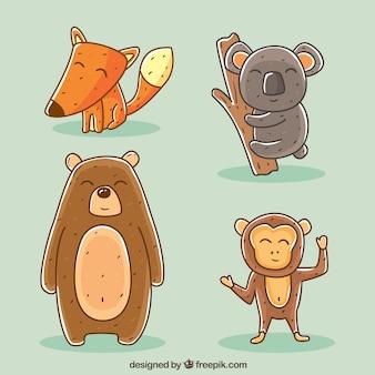 Verzameling van gelukkige handgetekende dieren