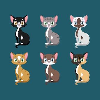 Verzameling van gelukkige kleurrijke katten