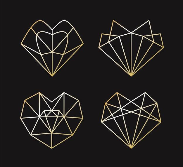 Verzameling van geometrische gouden hartvorm.
