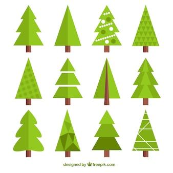 Verzameling van geometrische kerstboom