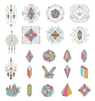 Verzameling van geometrische kristallen pictogrammen en symbolen