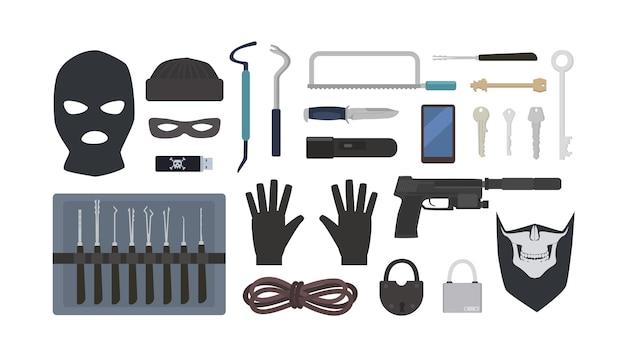 Verzameling van gereedschappen en apparatuur voor diefstal, overval, inbraak, inbraak - lock picks, hangsloten, maskers, touw, zaklamp, pistool, mes, zaag geïsoleerd op een witte achtergrond. platte vectorillustratie.
