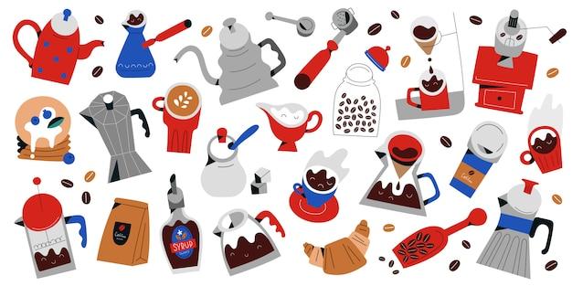 Verzameling van gereedschappen en gebruiksvoorwerpen voor het maken van koffie, geïsoleerde illustraties