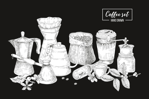 Verzameling van gereedschappen voor het zetten van koffie in zwart-witte kleuren - mokapot, turkse cezve, waterkoker met lange tuit, glazen druppelaar, molen. monochrome afbeelding in vintage gravure stijl.