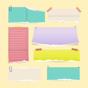 Verzameling van gescheurd papier in realistische stijl