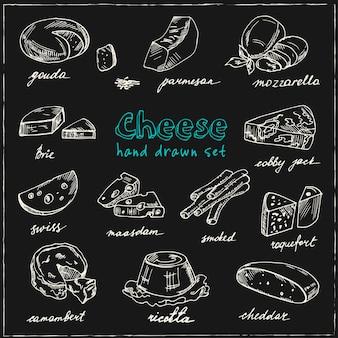 Verzameling van gesneden kaas assortiment. decoratieve geplaatste pictogrammen.