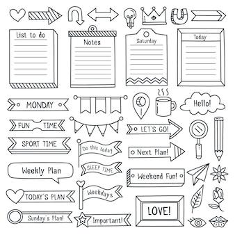 Verzameling van getekende bullet journal essentials