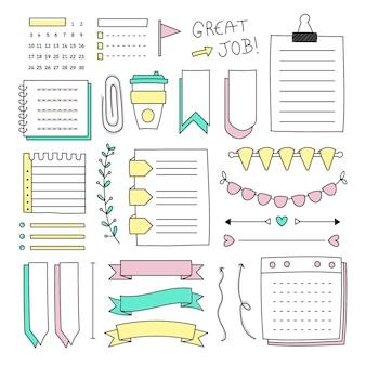 Verzameling van getekende elementen voor bullet journals