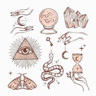 Verzameling van getekende esoterische elementen