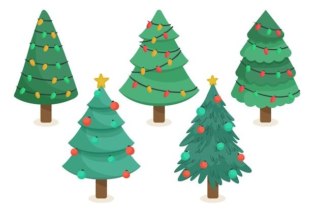 Verzameling van getekende kerstbomen met ornamenten