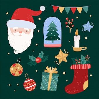 Verzameling van getekende kerstelementen