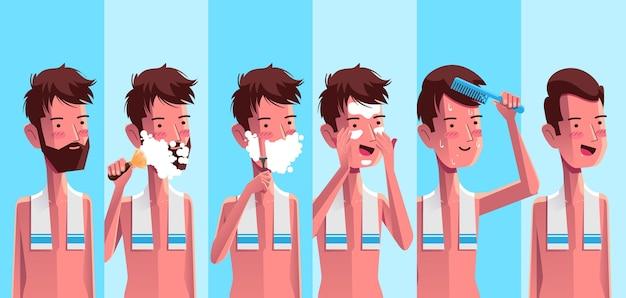 Verzameling van getekende man die zijn huidverzorgingsroutine doet