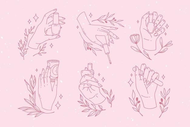 Verzameling van getekende manicure hand