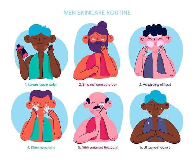 Verzameling van getekende mannen die hun huidverzorgingsroutine doen