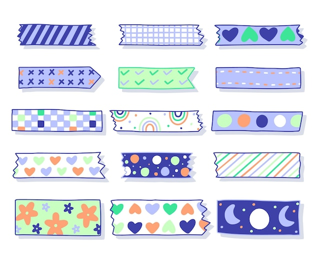 Verzameling van getekende mooie washi-tapes