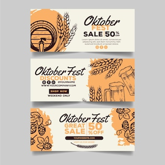 Verzameling van getekende oktoberfest banners