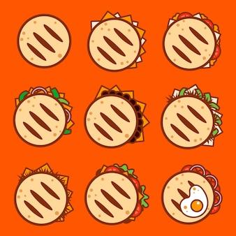 Verzameling van getekende smakelijke arepa's