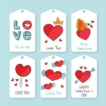 Verzameling van getekende valentijnsdag badges